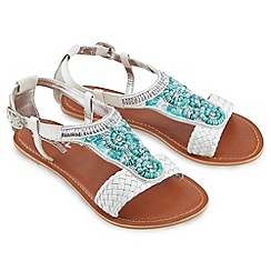 Joe Browns - White south beach beaded leather sandals