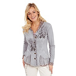 Joe Browns - Grey elaborate embroidered sweat jacket