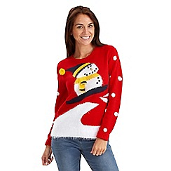 Joe Browns - Red snowman print Christmas jumper