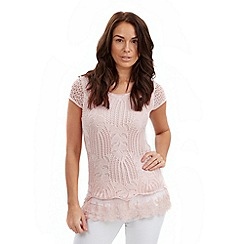 Joe Browns - Pale pink crochet tunic