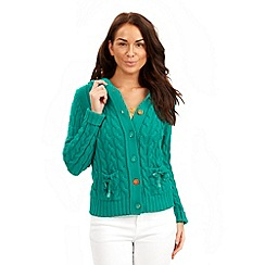 Joe Browns - Aqua cable hooded cardigan
