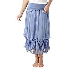 Joe Browns - Mid blue very vintage lace trim skirt