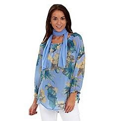 Joe Browns - Blue gypsy floral blouse and scarf