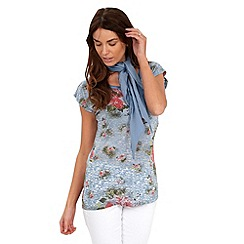 Joe Browns - Blue distressed floral t-shirt with scarf