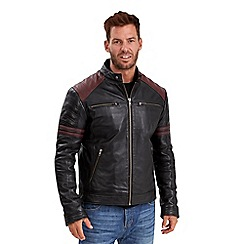 Joe Browns - Black leather burnout biker jacket