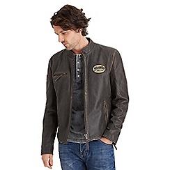 Joe Browns - Brown badge me up leather jacket