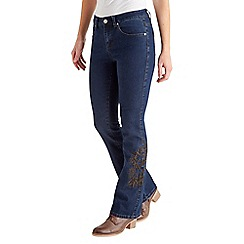 Joe Browns - Navy embroidered flared jeans