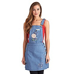 Joe Browns - Mid blue crafty embroidered dungaree tunic