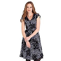 Joe Browns - Navy floral print 'Phenomenal' v-neck knee length shirt dress