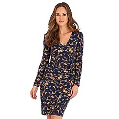 Joe Browns - Navy floral print jersey 'Beautiful Bird' v-neck long sleeves knee length wrap dress