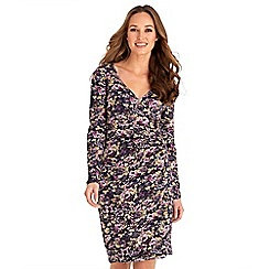 Joe Browns - Multicoloured floral print jersey 'Passionate' v-neck long sleeves knee length wrap dress