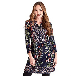 Joe Browns - Navy floral print jersey 'Midnight' v-neck mini shirt dress