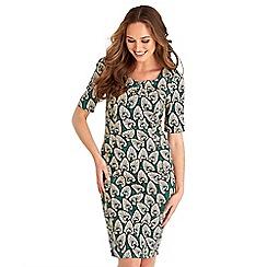 Joe Browns - Multicoloured floral print cotton blend 'Little Leaf' v-neck knee length bodycon dress