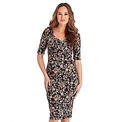 Joe Browns - Multicoloured floral print cotton blend 'Romantic Vintage' v-neck knee length bodycon dress