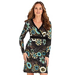 Joe Browns - Multicoloured printed jersey 'Winter Warmer' v-neck long sleeves knee length wrap dress