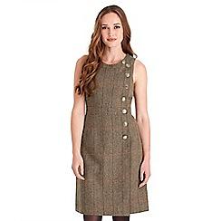 Joe Browns - Brown checked wool blend 'Joe's Favourite Heritage' knee length wrap dress