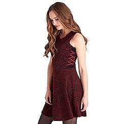 Joe Browns - Dark red paisley knitted jacquard mini skater dress