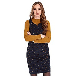 Joe Browns - Navy floral print pure cotton 'Cheeky Cord' knee length pinafore dress