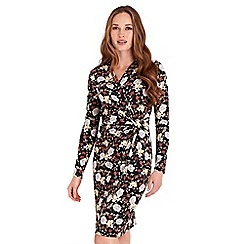 Joe Browns - Multicoloured floral print jersey 'Amazing' v-neck long sleeves knee length wrap dress