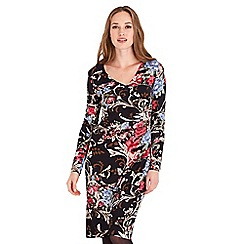 Joe Browns - Multicoloured floral print jersey v-neck long sleeves knee length wrap dress