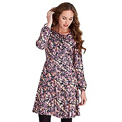 Joe Browns - Multicoloured floral print jersey 'Autumn Dreaming' v-neck long sleeves knee length skater dress