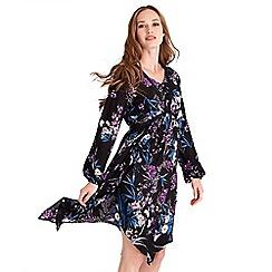 Joe Browns - Black floral print 'Alluring Free Flowing' v-neck long sleeves knee length dress