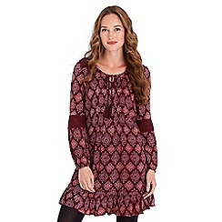 Joe Browns - Dark red printed 'Simple Stylish' v-neck long sleeves mini tunic dress