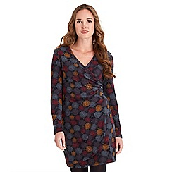 Joe Browns - Multicoloured jersey 'Beautiful Butterfly' v-neck long sleeves mini wrap dress