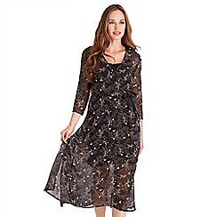 Joe Browns - Black floral print chiffon 'Into The Woods' v-neck midi wrap dress