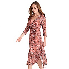 Joe Browns - Pink floral print chiffon 'Into The Woods' v-neck midi wrap dress