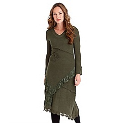 Joe Browns - Green embellished jersey 'Amazingly Versatile' v-neck long sleeves midi dress