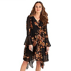 Joe Browns - Black floral print chiffon 'Royal' v-neck long sleeves knee length wrap dress