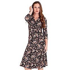 Joe Browns - Multicoloured floral print jersey 'Office To Bar' v-neck knee length dress