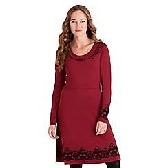 Joe Browns - Red plain jersey 'Flocked Signature' long sleeves knee length dress