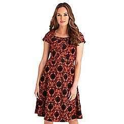 Joe Browns - Dark orange printed 'Funky Flocked' knee length tea dress