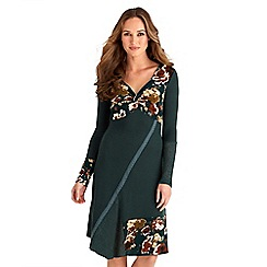 Joe Browns - Green mix and match jersey 'Ultimate Knot' v-neck long sleeves knee length tunic dress