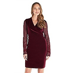 Joe Browns - Dark red plain velvet 'Wrap Up' v-neck long sleeve knee length wrap dress