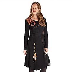 Joe Browns - Black plain jersey 'Autumnal' long sleeve knee length dress