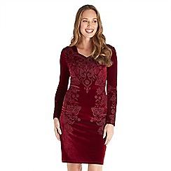 Joe Browns - Dark red plain velvet 'Passionate' v-neck long sleeve knee length bodycon dress