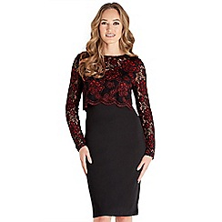 Joe Browns - Multicoloured lace 'Sultry' long sleeve knee length bodycon dress