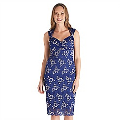Joe Browns - Blue lace 'Queen Of Hearts' v-neck knee length bodycon dress
