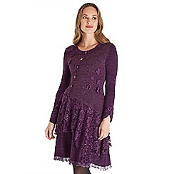Joe Browns - Purple plain 'Mix It Up' long sleeve knee length tunic dress