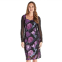 Joe Browns - Purple floral sequin 'Wow' long sleeve knee length bodycon dress