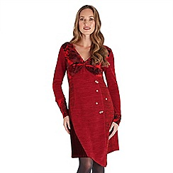 Joe Browns - Red plain velvet  'Christmas Spirit' v-neck long sleeve knee length tunic dress
