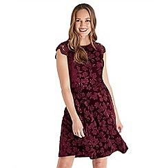 Joe Browns - Dark red floral print velvet knee length skater dress