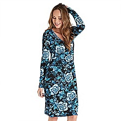 Joe Browns - Dark blue floral jersey 'Chrissy' v-neck long sleeve knee length wrap dress
