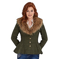 Joe Browns - Green fabulous faux fur collar jacket