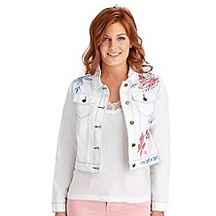 Joe Browns - White fitted embroidered denim jacket