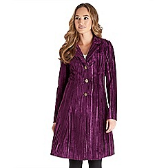 Joe Browns - Purple vamp velvet longline coat