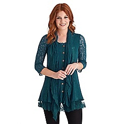 Joe Browns - Dark turquoise go anywhere lacy cardigan and scarf